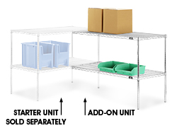 "Adjustable Open Wire Shelving Add-On Unit, 48 x 12 x 34"" - Chrome"