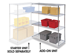 "Adjustable Open Wire Shelving Add-On Unit, 48 x 24 x 72"" - Chrome"