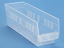 "4 x 12 x 4"" Clear Plastic Shelf Bins"