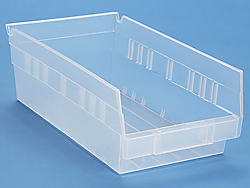 "7 x 12 x 4"" Clear Plastic Shelf Bins"
