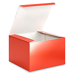 "6 x 6 x 4"" Red Gloss Gift Boxes"