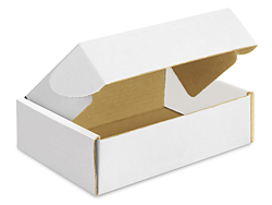"9 x 6 1/2 x 2 3/4"" White Tab Locking Literature Mailers"