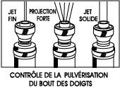 Fingertip Spray Control: Pin Point, Heavy Spray, Solid Jet