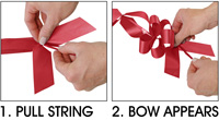Instructions: 1. Pull String, 2. Bow Appears