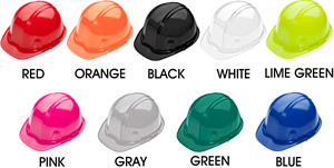 Yellow, White, Pink, Red, Lime, Orange, Maple Leaf, & Blue Hard Hats